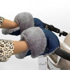 Муфта - рукавицы на коляску СИНЯЯ