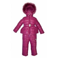 Детский зимний полукомбинезон и куртка для девочки (Манджента)