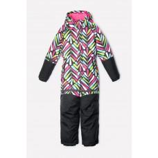 Детский зимний комбинезон Crockid (графит, цветные листики)