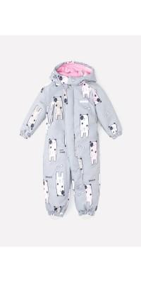 Детский зимний комбинезон Crockid (светло-серый, собачки)