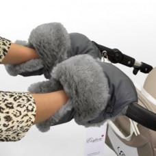 Муфта - рукавицы на коляску СЕРАЯ